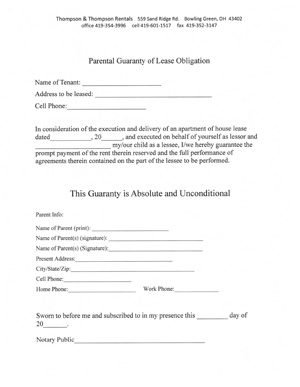 Thompson & Thompson Rentals | Parental Consent Form